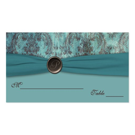 Teal and Brown Damask Placecards Business Card