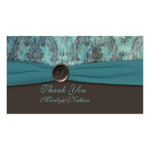 Teal and Brown Damask Wedding Favor Tag Business Card