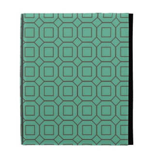 Teal and Brown Diamond and Square Pattern iPad Case