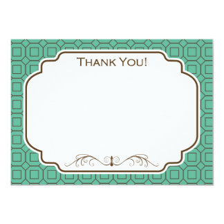 """Teal and Brown Diamond and Square Pattern 4.5"""" X 6.25"""" Invitation Card"""