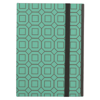 Teal and Brown Diamond and Square Pattern iPad Air Covers
