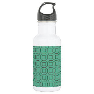 Teal and Brown Diamond and Square Pattern Water Bottle