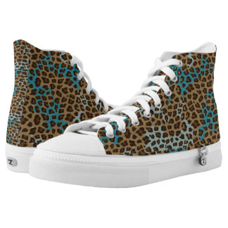 Teal and Brown Leopard Printed Shoes