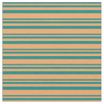 [ Thumbnail: Teal and Brown Lines Fabric ]