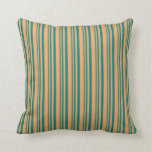 [ Thumbnail: Teal and Brown Lines Throw Pillow ]