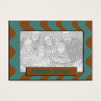 teal and brown photo frame business card