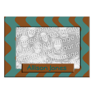 teal and brown photo frame business card template