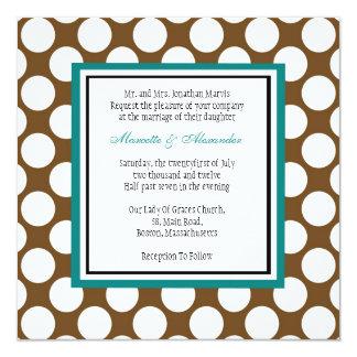 Teal and Brown Polka Dot Wedding Invitation