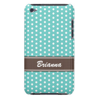Teal and brown polka dots iPod case, aqua sea blue Barely There iPod Cases