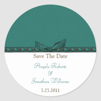Teal and Brown Save The Date Sticker