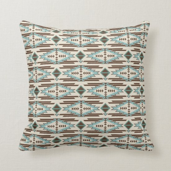 Teal and Brown Southwestern Tribal Pattern Throw Pillow