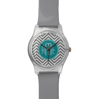 Teal and Charcoal Chevrons with Custom Monogram Wristwatch