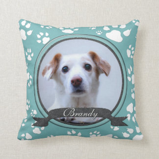 Teal and Charcoal  Dog Memorial Paw Prints Throw Pillow