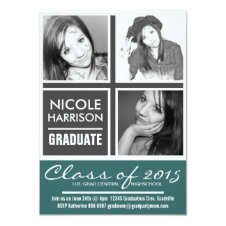 """Teal and Charcoal Gray Mod Grad Party 3 Photos 4.5"""" X 6.25"""" Invitation Card"""