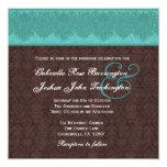 Teal and Chocolate Damask Monogram Wedding V07 Personalized Invite