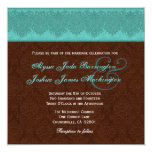 Teal and Chocolate Damask Monogram Wedding V15A Custom Invites