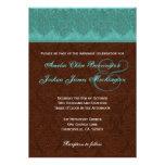 Teal and Chocolate Damask Monogram Wedding V15D Invite