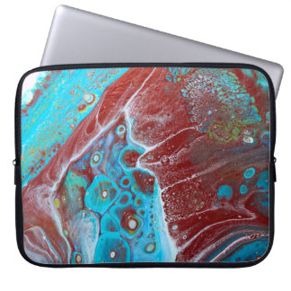 Teal and Copper Acrylic Abstract Computer Sleeve