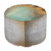 Teal and Copper Colored Vintage Designed Pouf