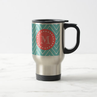 Teal and Coral Chevron with Custom Monogram 15 Oz Stainless Steel Travel Mug