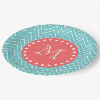 Teal and Coral Chevron with Custom Monogram 9 Inch Paper Plate