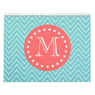 Teal and Coral Chevron with Custom Monogram Calendars