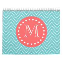 Teal and Coral Chevron with Custom Monogram Calendar