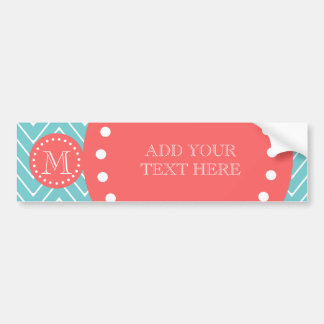 Teal and Coral Chevron with Custom Monogram Car Bumper Sticker