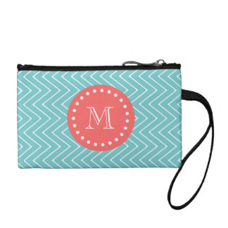 Teal and Coral Chevron with Custom Monogram Coin Wallets