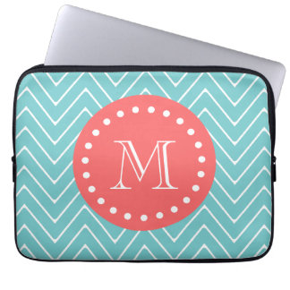 Teal and Coral Chevron with Custom Monogram Computer Sleeve