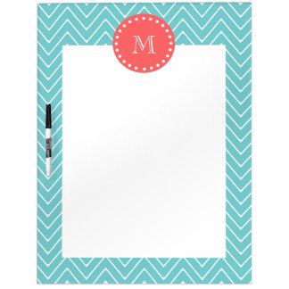 Teal and Coral Chevron with Custom Monogram Dry Erase White Board