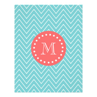 Teal and Coral Chevron with Custom Monogram Flyer