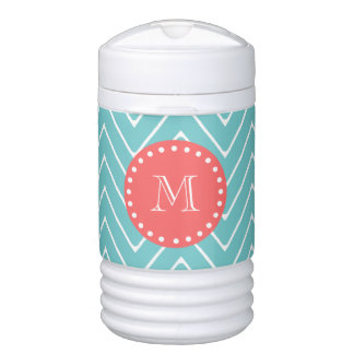 Teal and Coral Chevron with Custom Monogram Igloo Beverage Cooler