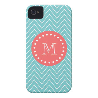 Teal and Coral Chevron with Custom Monogram iPhone 4 Cover