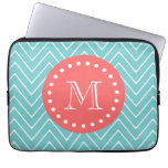 Teal and Coral Chevron with Custom Monogram Laptop Sleeves