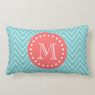 Teal and Coral Chevron with Custom Monogram Lumbar Pillow