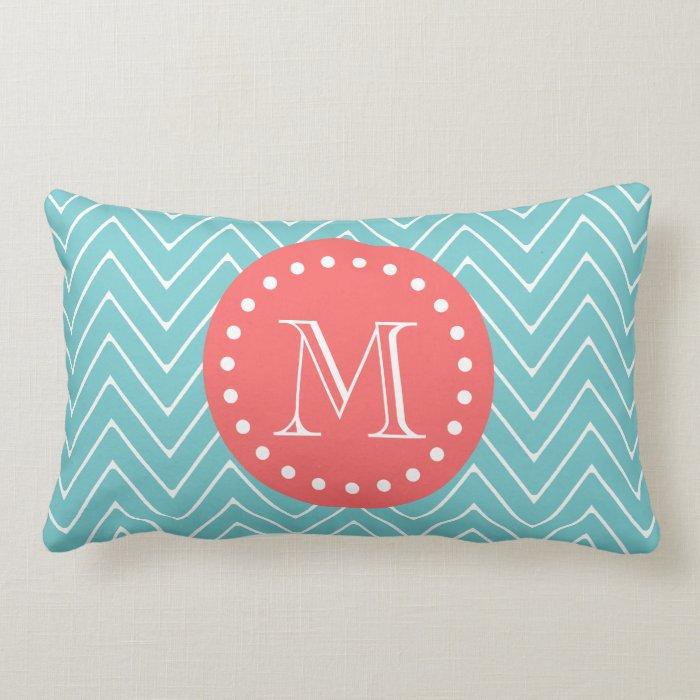 Teal and Coral Chevron with Custom Monogram Lumbar Pillow