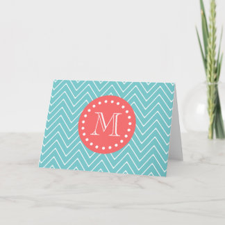Teal and Coral Chevron with Custom Monogram Note Card