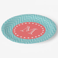 Teal and Coral Chevron with Custom Monogram Paper Plate