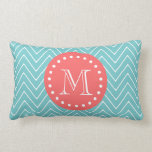 Teal and Coral Chevron with Custom Monogram Throw Pillows