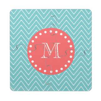 Teal and Coral Chevron with Custom Monogram Puzzle Coaster