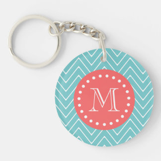 Teal and Coral Chevron with Custom Monogram Single-Sided Round Acrylic Keychain