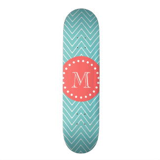 Teal and Coral Chevron with Custom Monogram Skateboard Deck