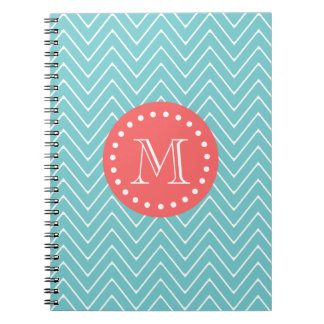 Teal and Coral Chevron with Custom Monogram Spiral Notebook