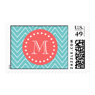 Teal and Coral Chevron with Custom Monogram Stamp