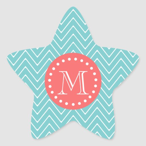 Teal and Coral Chevron with Custom Monogram Sticker