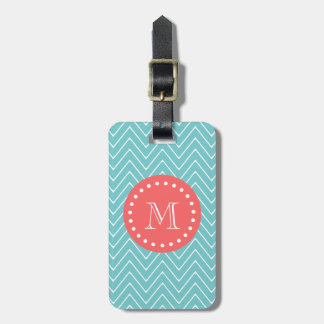 Teal and Coral Chevron with Custom Monogram Tag For Bags
