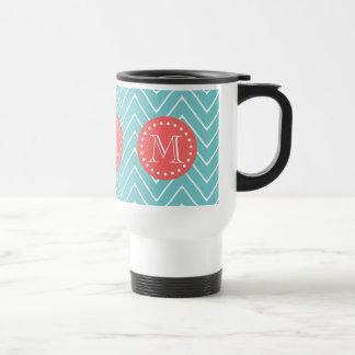 Teal and Coral Chevron with Custom Monogram Travel Mug