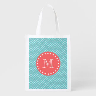 Teal and Coral Chevron with Custom Monogram Market Tote