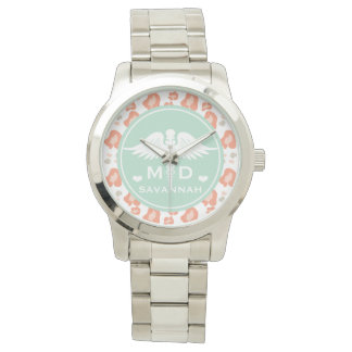 TEAL AND CORAL LEOPARD PRINT MD DOCTOR WRISTWATCH